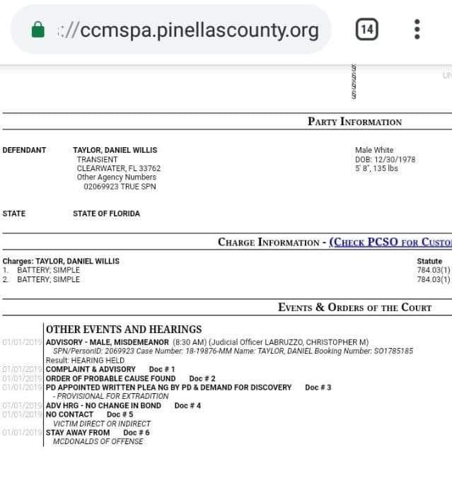 Daniel willis taylor charge information